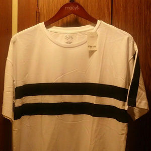 City Streets White and Black Striped Shirt